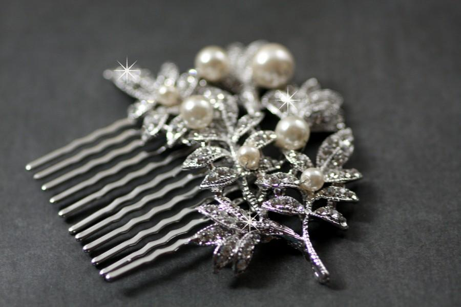 Mariage - Crystal Branch  Swarovski crystal and pearl elegant bridal hair comb