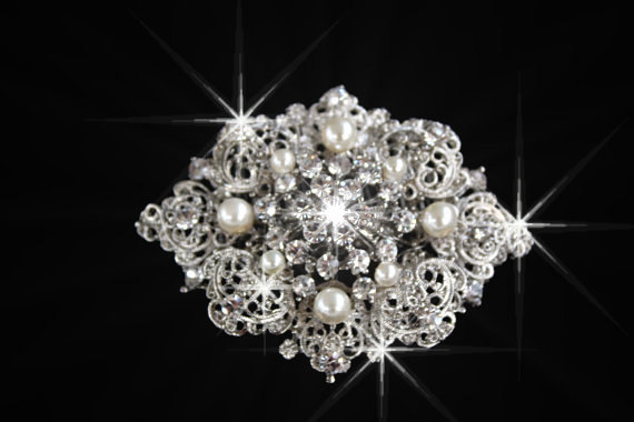 Mariage - Barbie Vitorian style Swarovski crystal and pearl elegant bridal Brooch , Barrett or hair comb