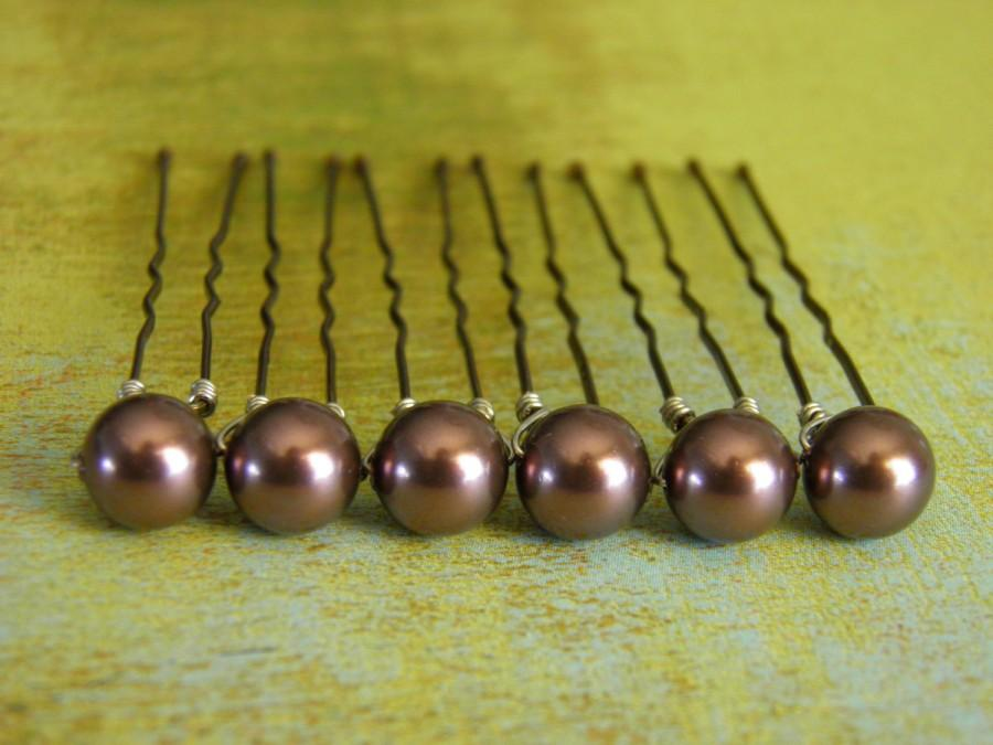 زفاف - 6 Burgundy 8mm Swarovski Crystal Pearl Hair Pins