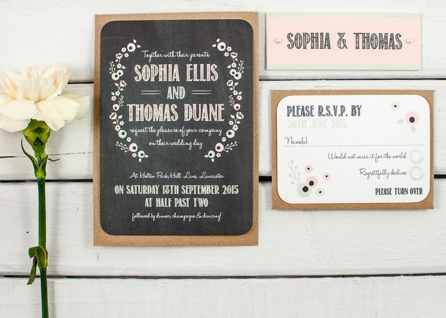 زفاف - Pastel Floral Chalkboard Wedding Invitation Bundle