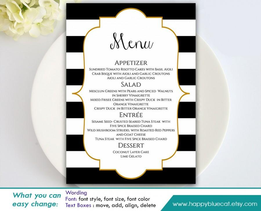 DiY Printable Wedding Menu Template