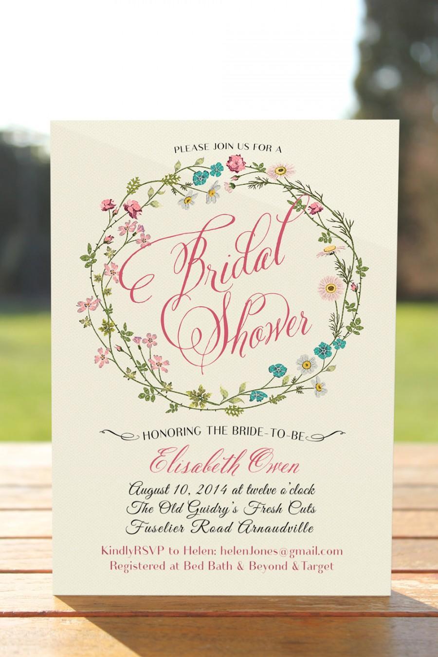 Wedding - Floral bridal shower invitation, rustic bridal shower invite printable, bridal invitation, bridal shower, Wedding Shower, wreath invitation
