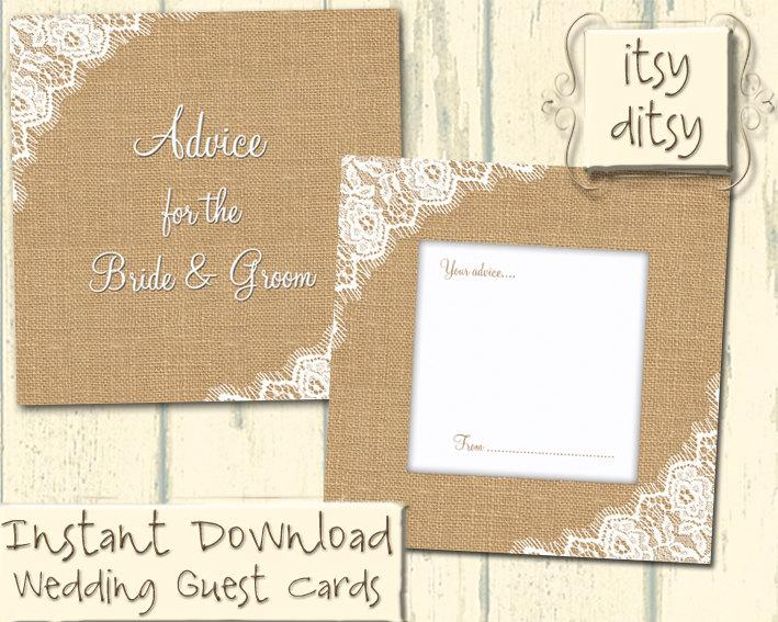 Hochzeit - Wedding guest card - DIY Rustic wedding advice card in Burlap & Lace wedding guest cards.Rustic printable advise cards - wedding download