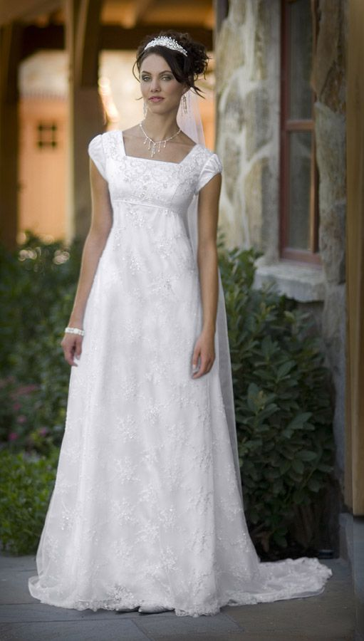 Dress - Simple White Modest Wedding Dress #2496316 - Weddbook