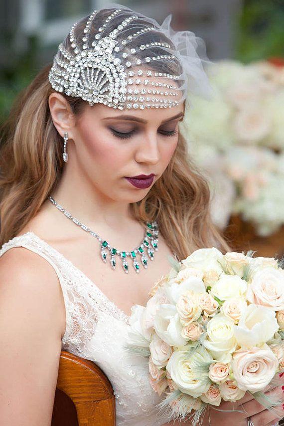 Wedding - Lujon - Crystal Art Deco 1920's Tulle Headpiece