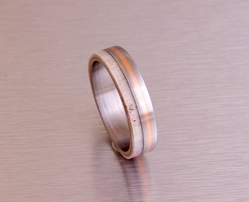 Antler Ring Titanium Ring Titanium Wedding Band Deer Antler Band Men