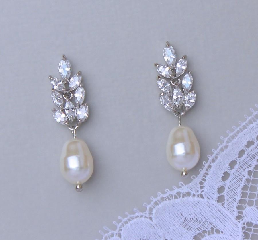 Crystal And Pearl Drop Earrings Bridal Ivory Jewelry Wedding Sandra