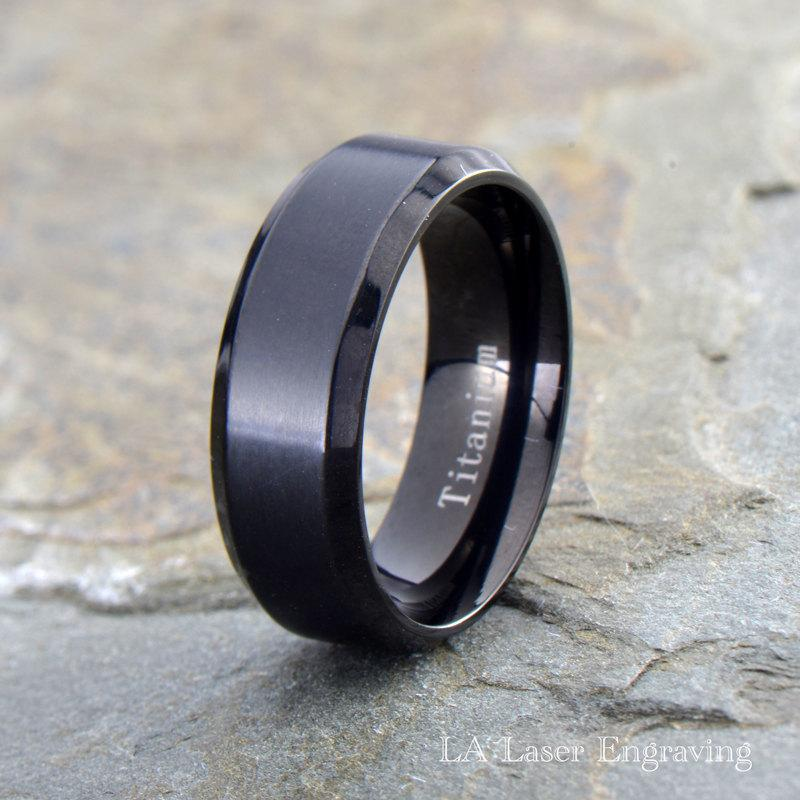 Mens titanium wedding band polished beveled edge ring for Mens wedding ring bands