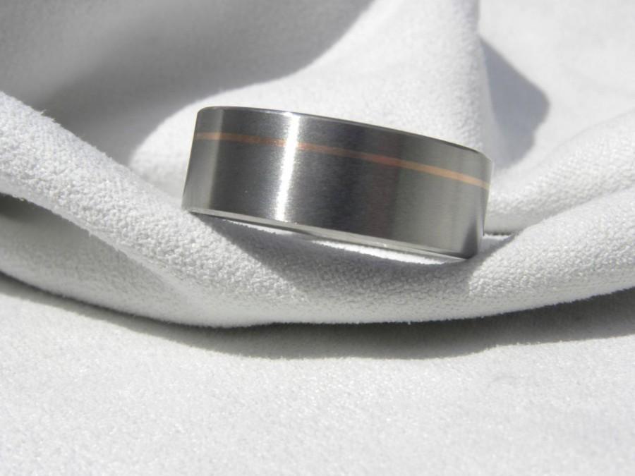 Mariage - Titanium Ring with Offset Rose Gold Pinstripe Inlay Satin Finish