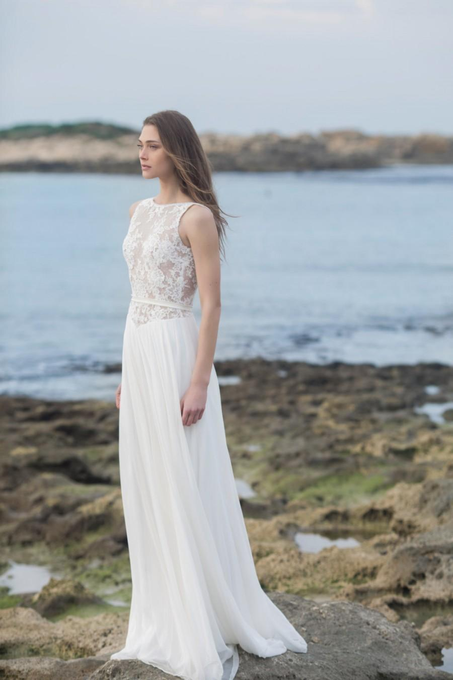 Beach sheer lace silk chiffon wedding dress new 2016 for Beach chiffon wedding dress