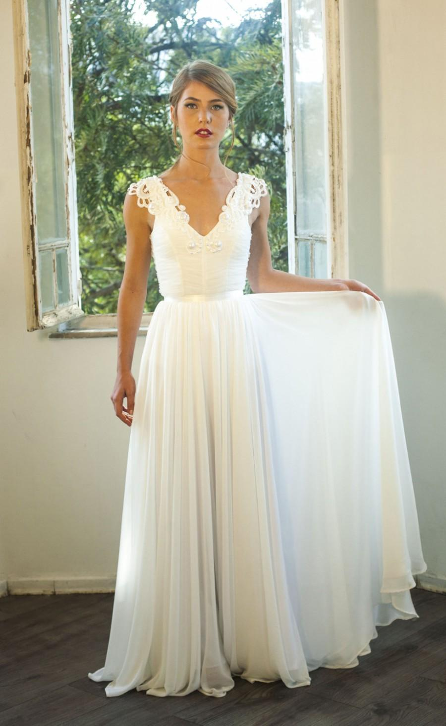 Romantic Vintage Inspired Lace Wedding Dress Custom Made Chiffon ...