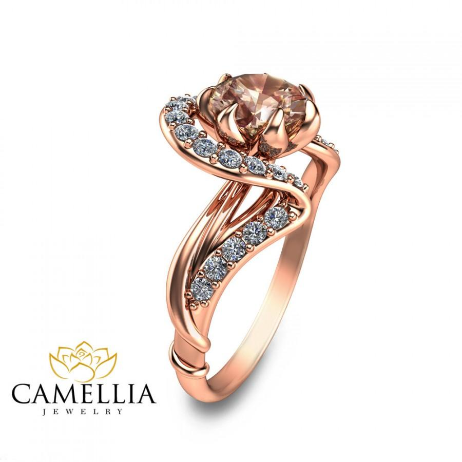 Rose Gold Morganite Engagement Ring Art Nouveau Engagement Ring Flower Design