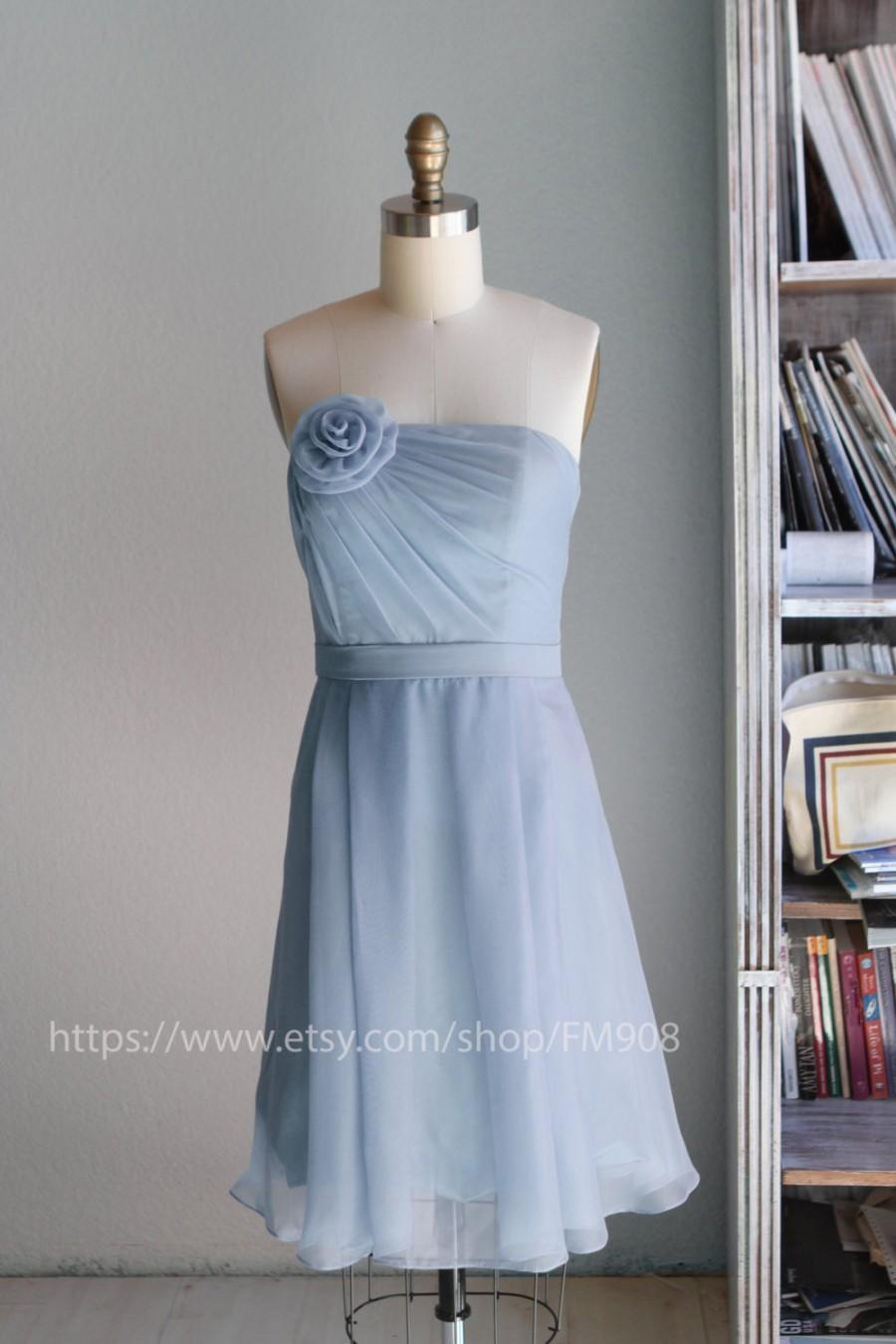 2016 light blue bridesmaid dress strapless wedding dress for Short light blue wedding dress