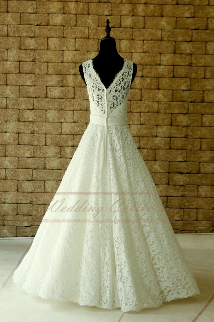 Свадьба - Lace Wedding Dress Sheer Neckline with Waistband Floor Length Garden Bridal Dress