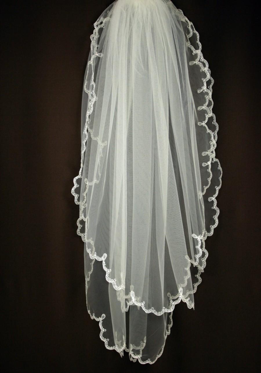 Bridal veil imani wedding with embroidery
