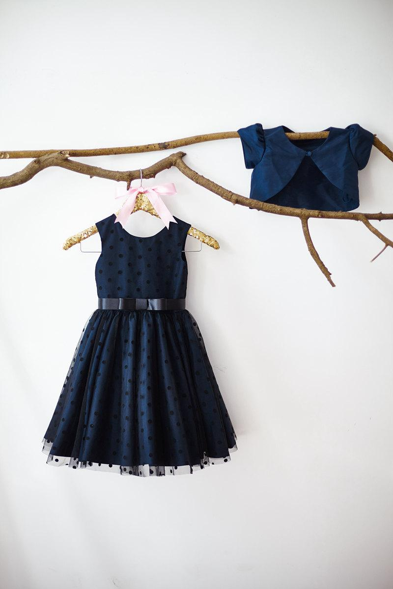 3b34b56e284 Navy Blue Taffeta Jacket Polka Dots Tulle Flower Girl Dress Junior  Bridesmaid Wedding Party Dress M003