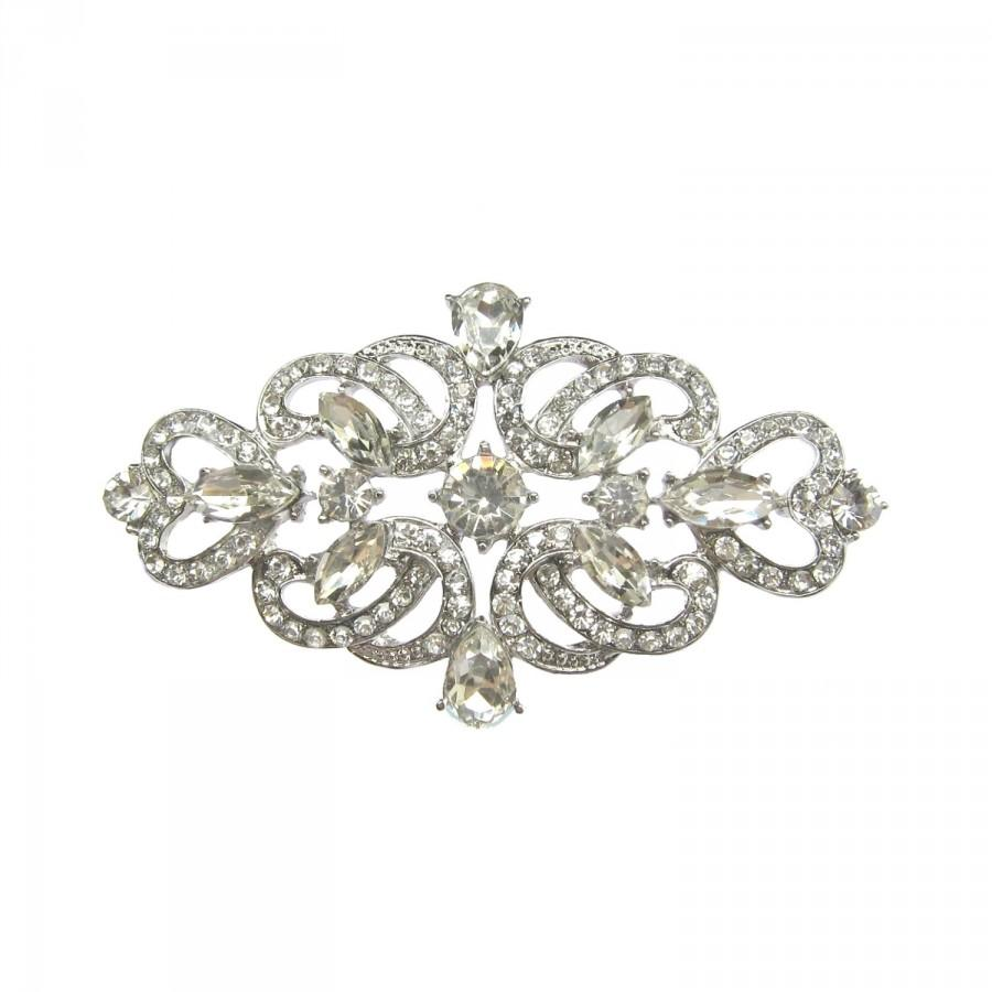 Mariage - 1 Crystal Rhinestone Button - Wedding Bouquet Charm, Bridal Sash, Gift Box Embellishment, Hair Jewelry CN-011 (77mm or 3 inch)