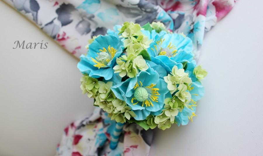 Blue Green Bridal Bouquet Poppy Hydrangea Bouquet Unique Wedding ...