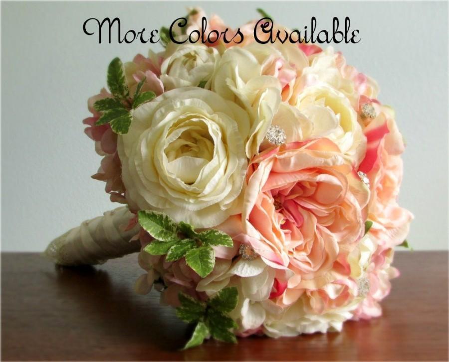 "Mariage - Silk Flower Wedding Bouquet, Roses, Ranunculus, Hydrangea, Lace, Rhinestone Crystals, Choice of Colors, ""New Dreams"""