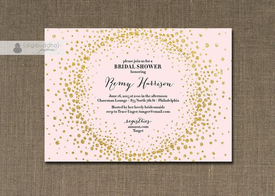 c31c0988b16 Blush Pink   Gold Glitter Bridal Shower Invitation Metallic Gold Confetti  Sprinkle Modern FREE PRIORITY SHIPPING or DiY Printable - Remy