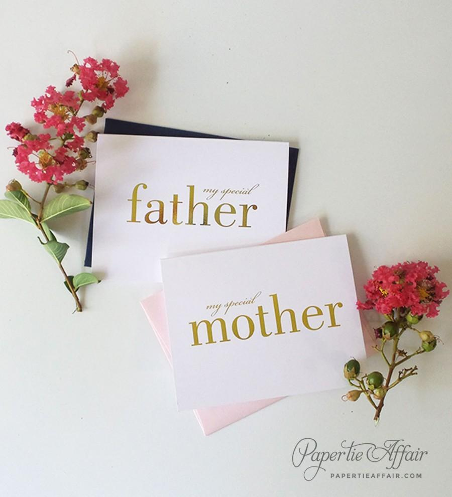 زفاف - Gold Foil Card to Mother or Father - To My Special Mom or Dad - Special Occasion Card - Wedding Day Card - Single or Set, REAL FOIL