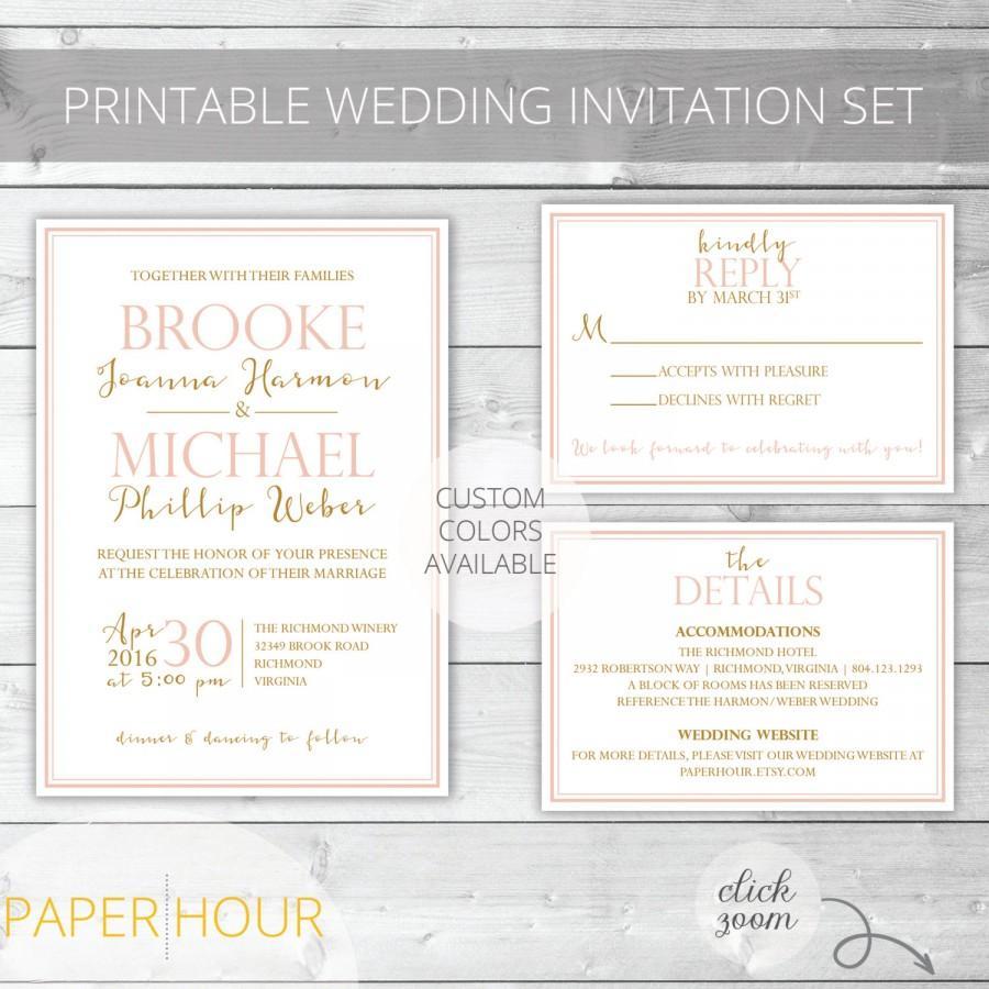 Hochzeit - Blush/Gold Printable Wedding Invitation Set