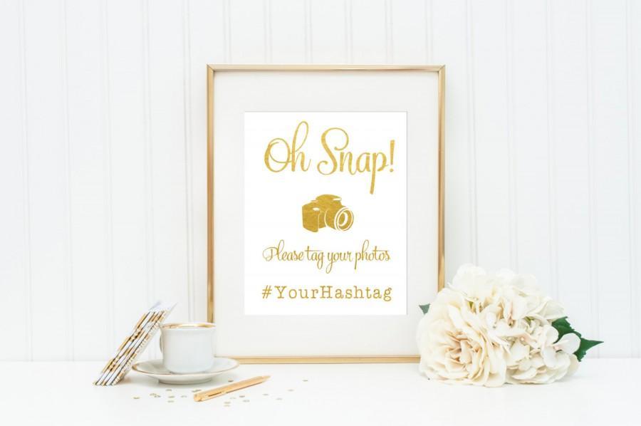 زفاف - Oh Snap Wedding Sign / Hashtag Wedding Sign / ACTUAL FOIL Wedding Sign / Gold Foil Wedding Sign / Social Media Wedding / Wedding Hashtag