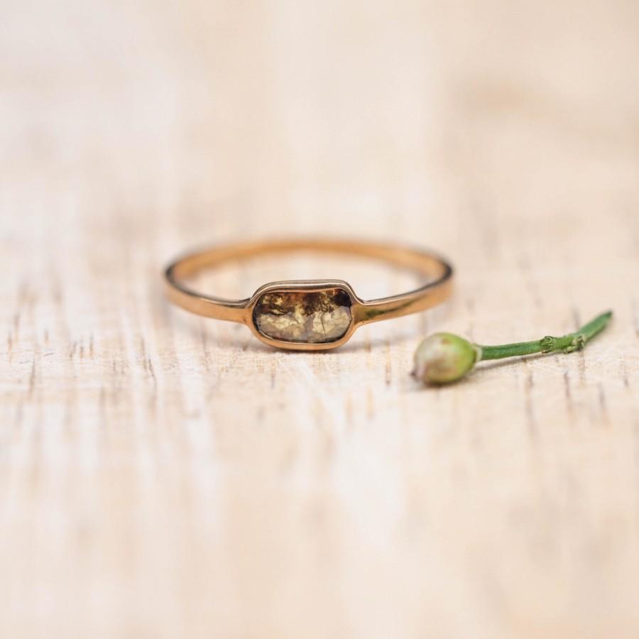 زفاف - Renaissance  - Gold Diamond Slice Ring - pavilion facet diamond
