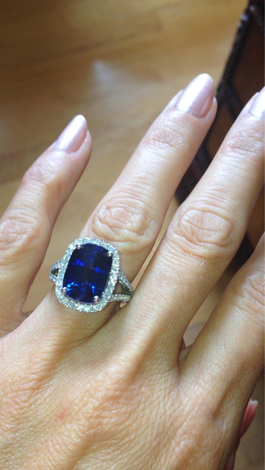 Sapphire Engagement Ring 14kt White Gold Halo 13x9 Ceylon