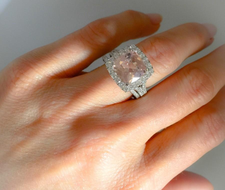 Morganite Diamond Halo Pink Engagement Ring Cushion Cut 10mm Center Natural Diamonds Matching Wedding Band INCLUDED