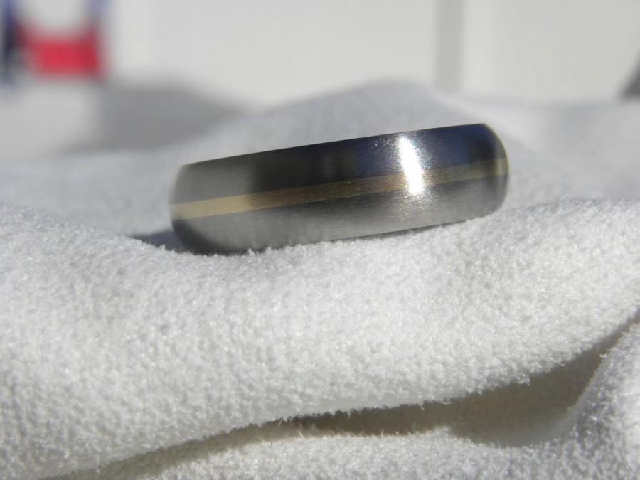 Wedding - Titanium Yellow Gold Inlay Ring, Dome Profile Wedding Band