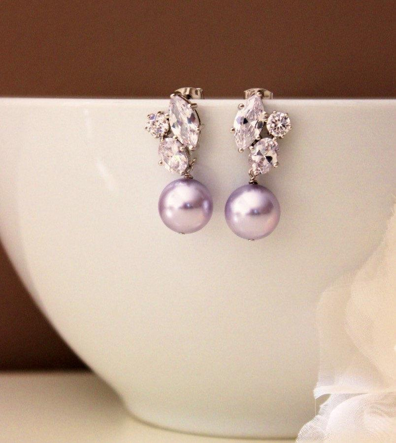 Wedding - Lavender Purple Pearl Earrings Lavender Wedding Earrings Bridesmaid Gift Swarovski Pearl Bridal Earrings Purple Wedding Jewelry