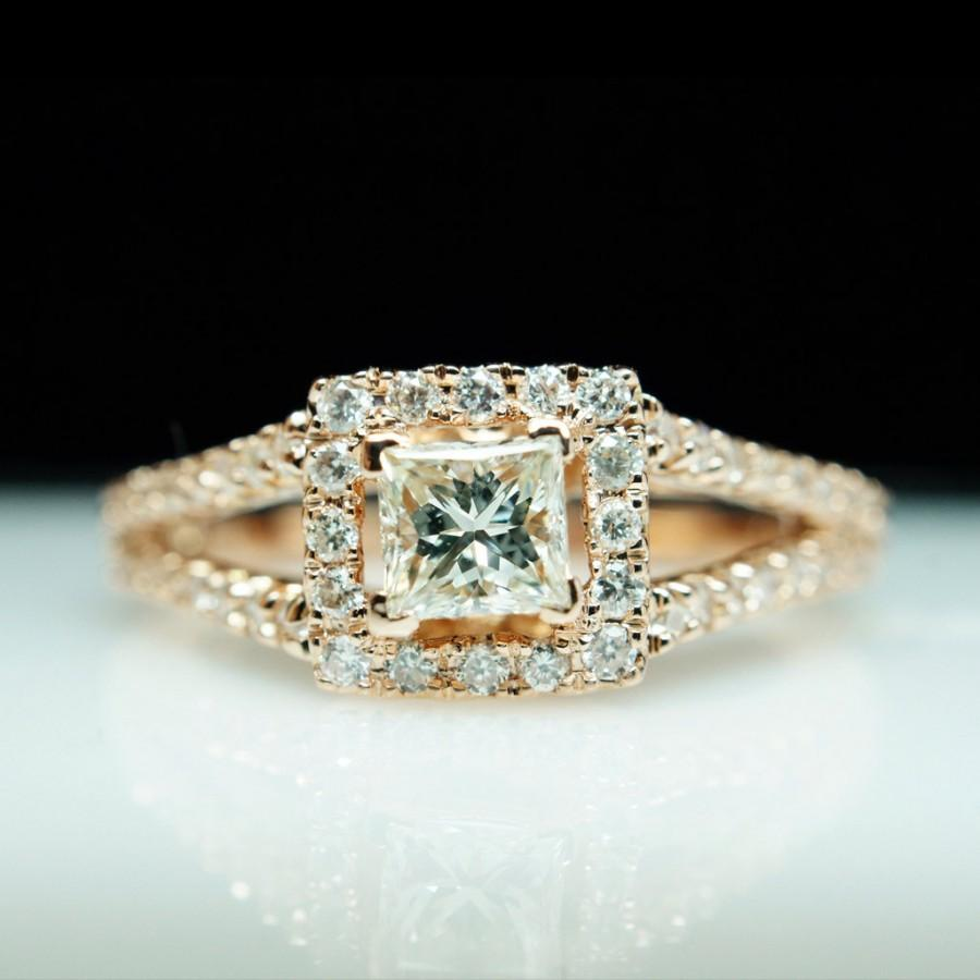 Princess Cut Diamond Engagement Ring Wedding Ring Set Rose Gold Ring 43 Ct  Square Halo Split Shank Ring Bridal Set Square Diamond Ring