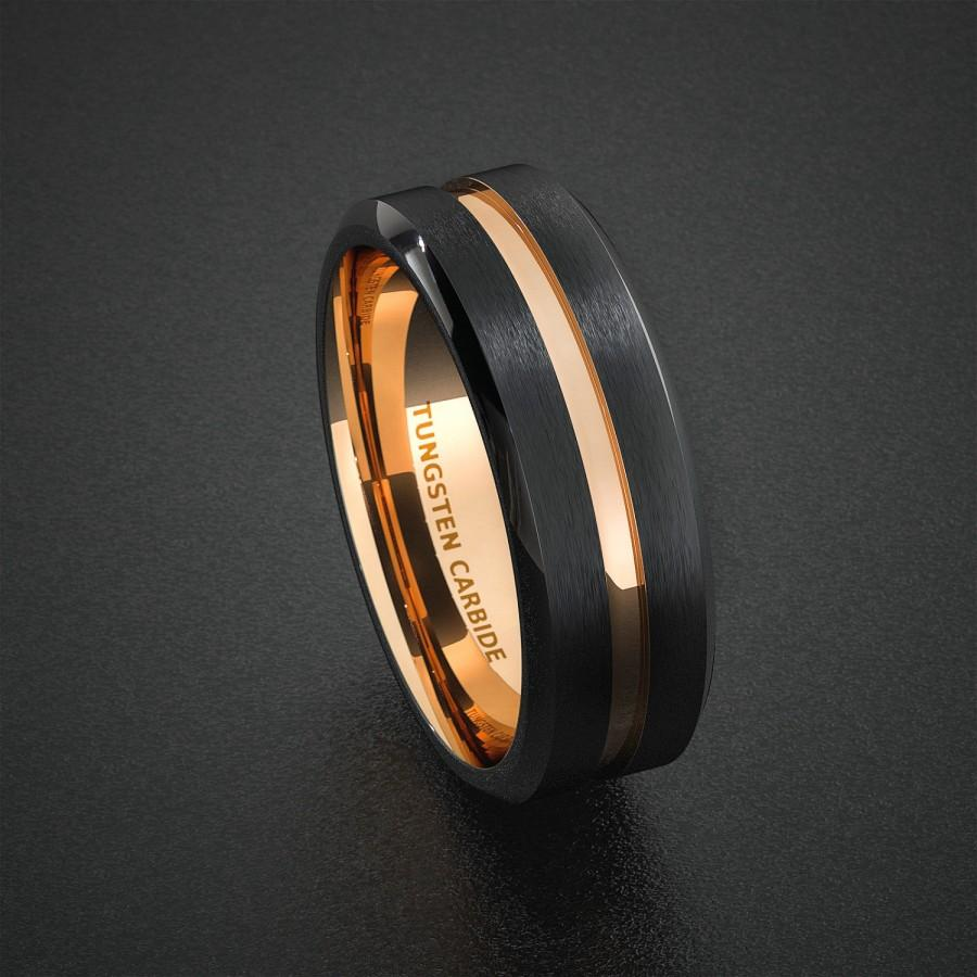 Tungsten Wedding Band Mens Ring Two Tone Rose Gold Black Center Groove Bevele