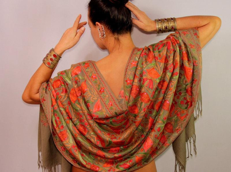 Wedding - Green Silk Shawl Wrap, Pashmina Scarf, Wool Pashmina Shawl, Wool Floral Shawl, Silk Embroidered Shawl, Wedding Bridal Shrug Shawl Bolero