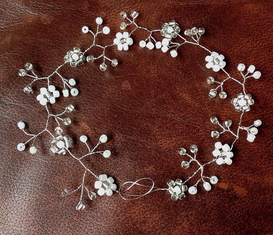 """زفاف - Wedding hair vine, Bridal headpiece, Tiara, halo, crown, headdress, Bohemian, silver, pearls, floral prom , flower girl, bridesmaid 10"""""""