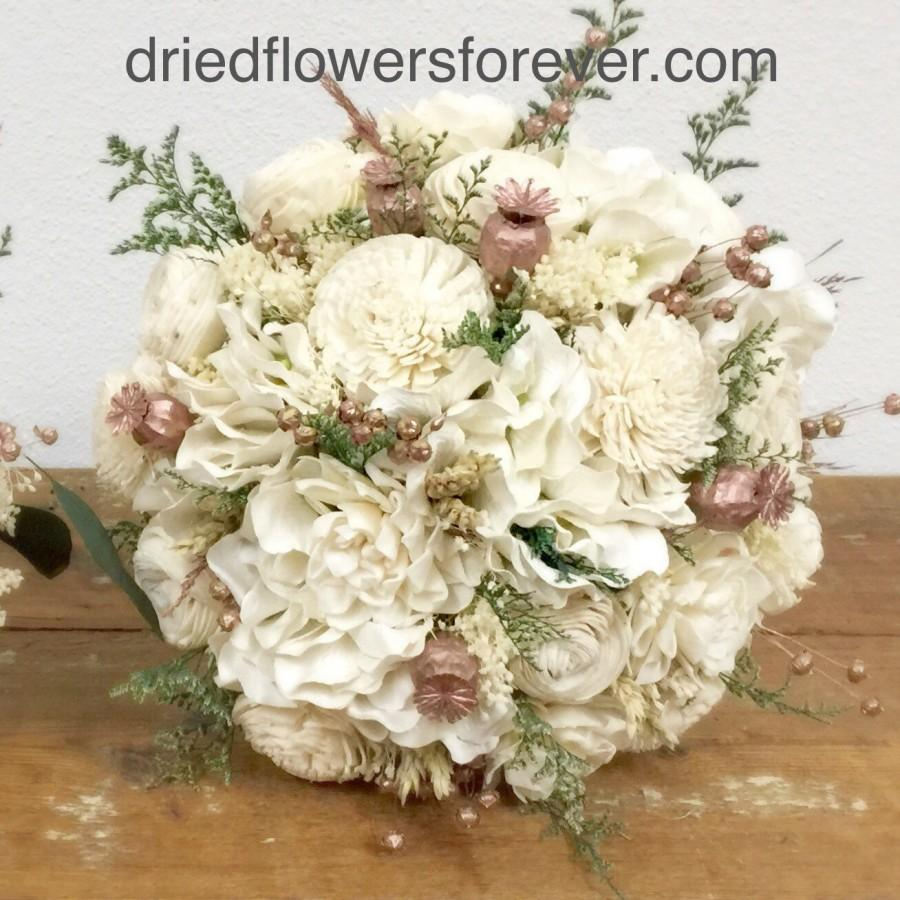 Rose Gold Wedding Bouquet Dried Flowers Pink Cream Blush Green