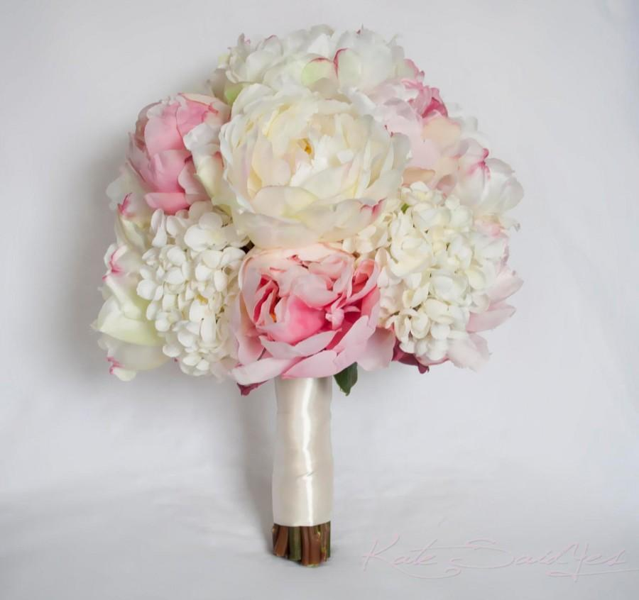 Mariage - Ivory and Blush Peony and Hydrangea Wedding Bouquet