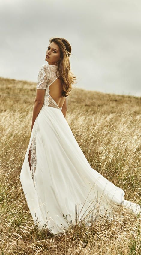 Vintage Boho Summer Beach Wedding Dresses Princess Backless Lace