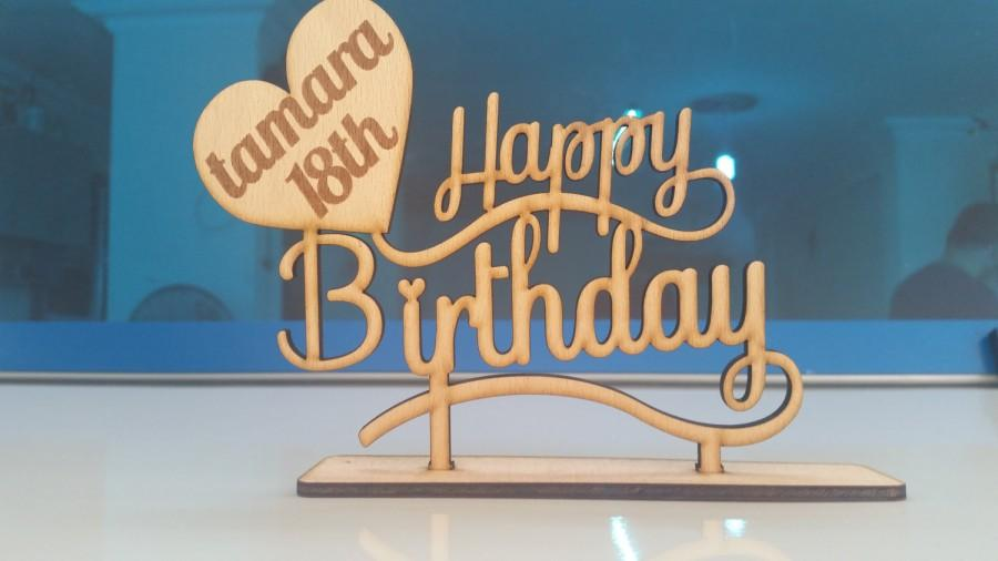 Personalized Happy Birthday Cake Topper With Number And Name Custom Party Decor