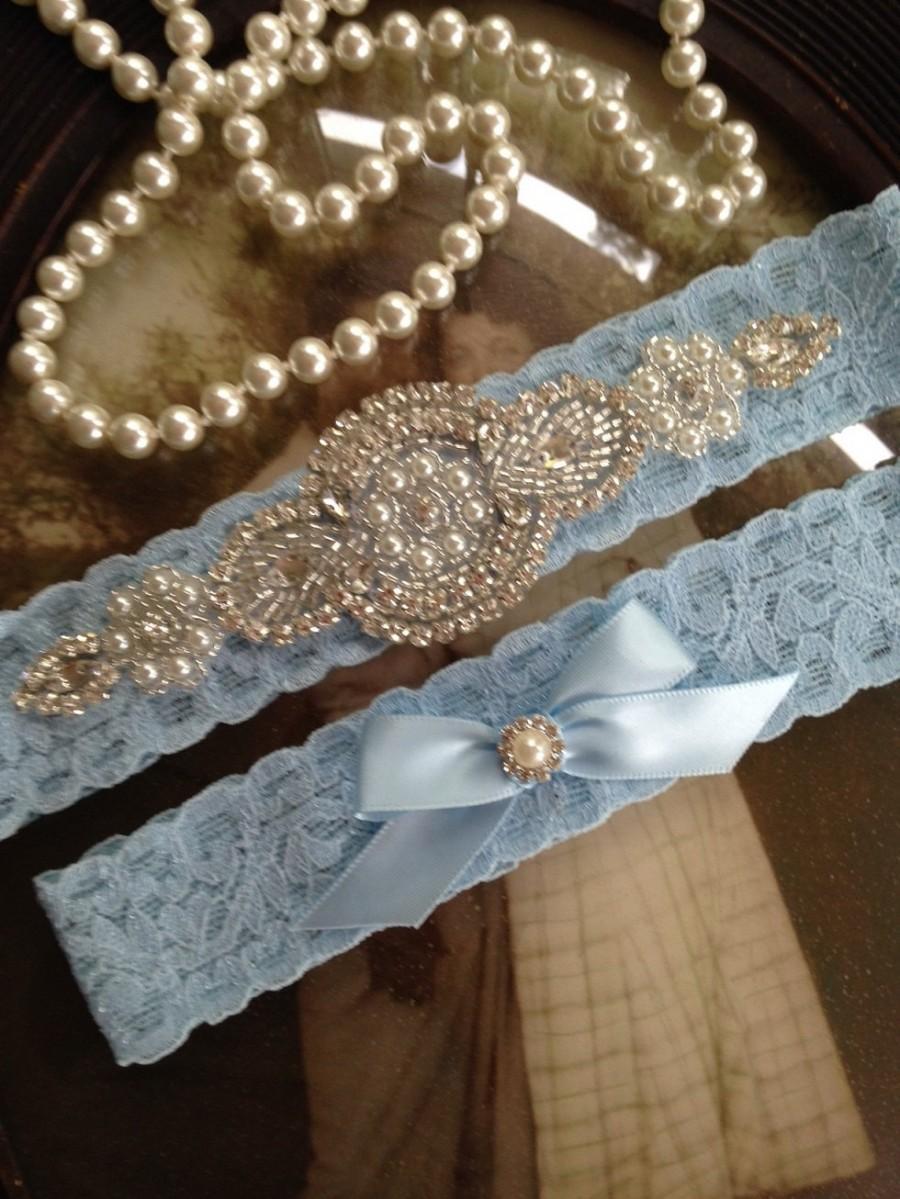 Свадьба - SALE-Wedding Garter-Garters-Stretch lace-blue garter-Garter-Rhinestone-Pearl garter-Keepsake-Something Blue-Lace Garter-bridal garter-ivory