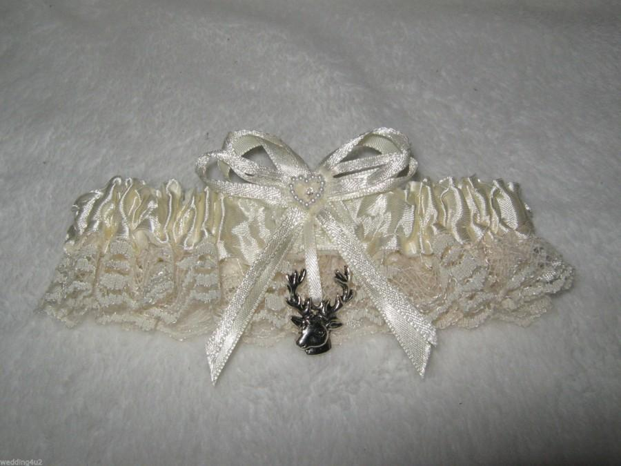 Wedding - Wedding Reception Ceremony Party Deer Hunting Hunter Ivory Satin Sexy Garter