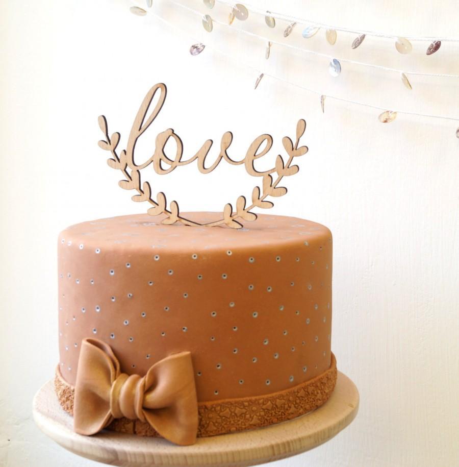 Mariage - Love cake topper, wedding cake topper, rustic cake topper, wooden cake topper, rustic wedding cake decoration, love topper