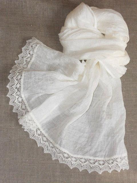 Hochzeit - Bridal shawl linen scarf with lace shabby chic style white washed semi sheer gauzy lightweight wrap
