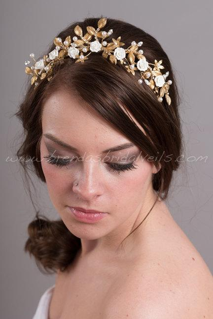 Wedding - Gold Bridal Headpiece, Gold Rhinestone Wedding Hair Piece, Gold an Ivory Bridal Crown - Nena