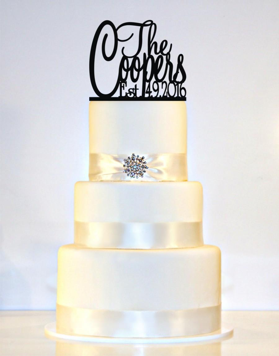 Wedding Cake Topper Monogram Personalized With YOUR Last Name Date