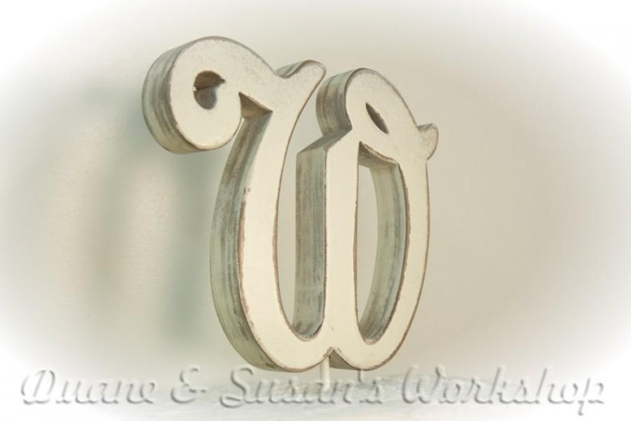Mariage - Letter Cake Topper Monogram 5 inch wooden  custom alphabet party favor wedding home decor spring decor