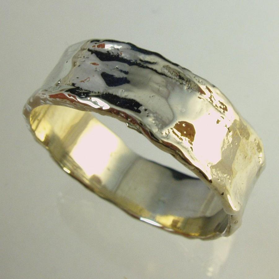Mens Wedding Band Woman Wedding Band14 Karat Ring Recycled Gold