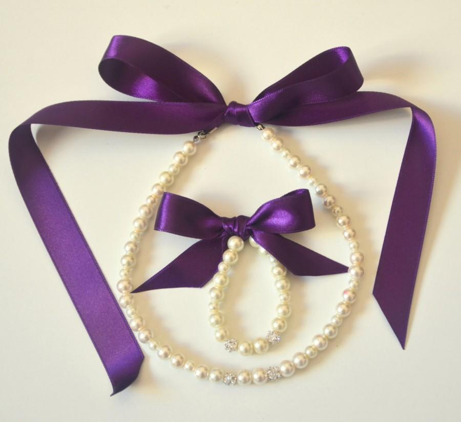 Mariage - Purple Flower girl jewelry set adjustable necklace and stretchy bracelet with swarovski crystal balls wedding jewelry  flower girl gift