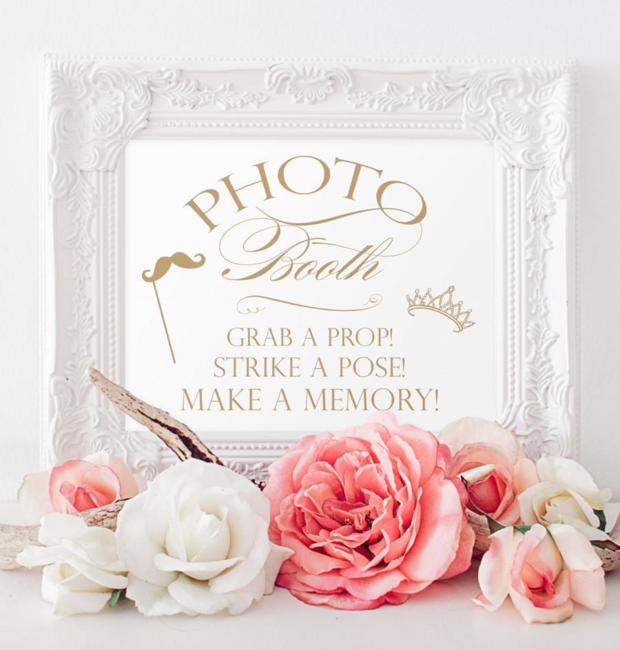 """زفاف - Photo Booth Sign - 8x10 sign - DIY Printable sign in """"Charming"""" antique gold - PDF and JPG files - Instant Download"""